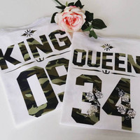 KING & QUEEN camouflage t shirts, Customize your own numbers shirt, King Queen shirts, Army print King and Queen t shirts, Queen and King