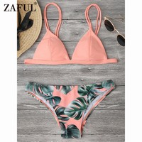 Zaful 2017 Women New Palm Leaf Print Cami Bikini Mid Waisted Spaghetti Straps Leaf Swimsuit Summer Beach Female Sexy Swimwear