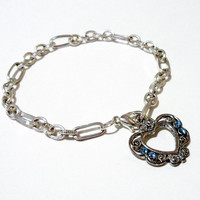 Silver Heart Blue Swarovski  Charm  Chainmaille Bracelet or Anklet, Prom, Bridal, Mothers Day Gift, Graduation