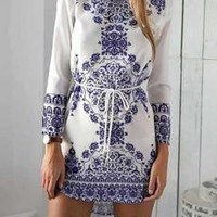Blue and White Flowers Long Sleeve Mini Dress Casual Party Evening Beach Dress [8321370439]