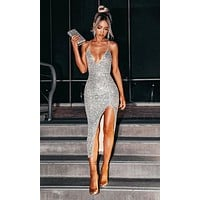 Fierce Attitude Silver Sequin Sleeveless Spaghetti Strap V Neck High Slit Bodycon Bandage Midi Dress