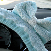 Teal & Lace Steering Wheel Cover with Matching Bow