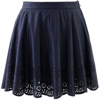 Blue Faux Leather Skirt with Cut Out Detail