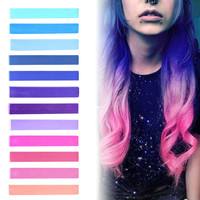 GALAXY HAIR   Blue, Purple, Lilac & Pink Pastel Ombre Hair Chalk temporary hair color set of 12