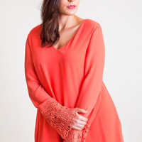 Umgee Plus Size Dress- Lace Bell Sleeve -Coral