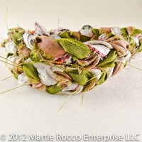 Braided double wrap bracelet in olive rose and white fabric. 12-195