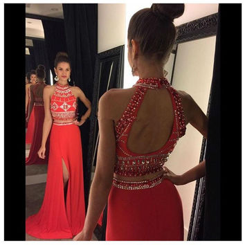 Sexy Two Pieces Prom Dresses 2016 New Beads Crystal Off the Shoulder Backless Side Slit Evening Gowns