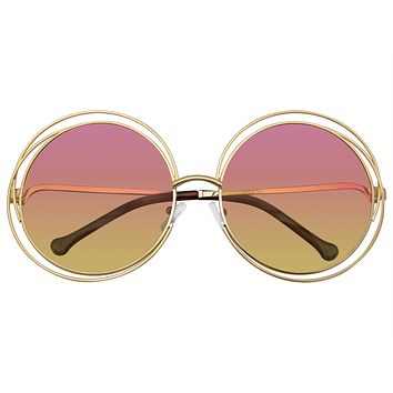 Round Sunglasses Double Wire Big Oversize Boho Circle Lens Sunglasses