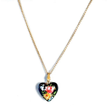 Vintage Heart Necklace,ECCO GF Necklace,Black Heart Pendant with Flowers,Puffy Heart Pendant,1950s/Earlier,Heart Necklace,Gold Filled Chain