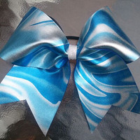 """Tie Dye 3"""" royal blue and white/silver Cheer Bow"""