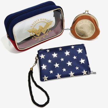 Licensed cool DC  Wonder Woman Cosmetic Make-Up Tote Bag 3 Set Big Medium Coin Purse NEW