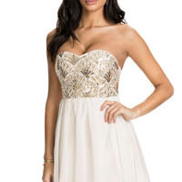Ladies Graceful Sequin Flower Bandeau Skater Dress