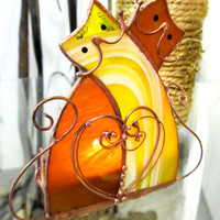 Stained glass candle holder Cats Love. Handmade unique personalized gift for Valentine Day. Candle holder for home decor. Love.  2015
