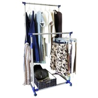 Evelots Heavy Duty Clothes Rack, Portable Double Clothes Hanging Storage Bars