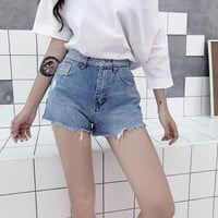 High Waist Denim Shorts for Women Summer Slim Jeans Short Vintage Casual Femme Short Jeans Mujer WS7060