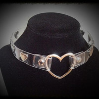 Clear Silver Spiked Heart Punk Choker Necklace - Silver Hearts