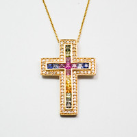 14K Gold Natural Rainbow Multi Color Sapphire and Diamond Cross