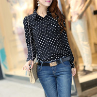 Hot Sale Casual Women Blouses New Summer Lady Polka Dots Vintage Design Long Sleeve Turn Down Collar Clothing Shirt Plus Size