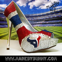 Houston Texans NFL Football Glitter Sports Heels with Crystal Rhinestones from MADE BY BUNNY