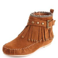 Tribal Trim Moccasin Bootie by Charlotte Russe - Cognac