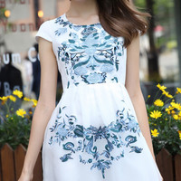White Cap Sleeve High Waist Embroidered Skater Dress