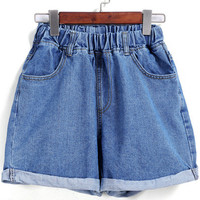 Blue Elastic Waist Flange Denim Shorts