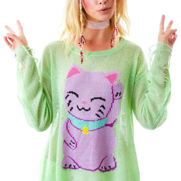 Wildfox Couture Fat Cat Lenon Sweater