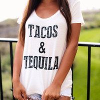 Tacos and Tequila Tee - Ivory