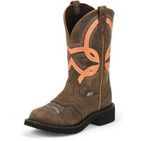 Women's Justin Barnwood Brown Cow 11in Top Cowgirl Boot