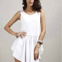 Pleated Irregular Hem Dress B0013967