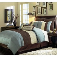 """8 Pieces Beige, Blue and Brown Stripe Comforter (104""""x92"""") Bed-in-a-bag Set King Size Bedding"""