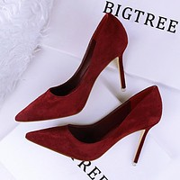 Fashionable simple stiletto heels shallow mouth pointed suede sexy was thin professional OL women's shoes women's shoes Burgundy