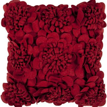 Felt Garden Throw Pillow Red