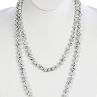 Mint green natural stone bead extra long wraparound  necklace