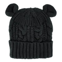 ZLYC Cute Cat Ears Neon Color Knitted Hat Beanie Cap (Black)