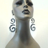 Beautifully Uniquely Shaped Denim Fabric Earrings with Embellished White Over Casted Design, Women Earrings, Fashion Earrings