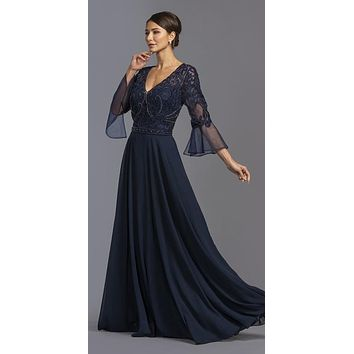 CLEARANCE - V-Neck Bell Sleeves Long Formal Dress Navy Blue (Size Small)
