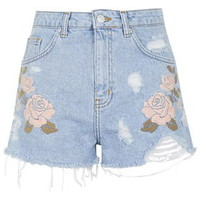 MOTO Embroidered Mom Shorts - Bleach
