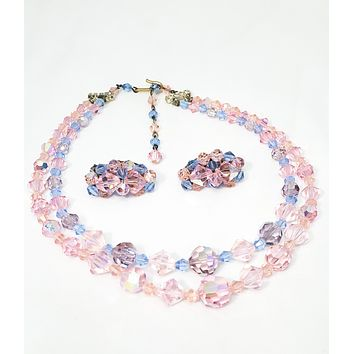 Vintage Austrian Lead Crystal pink and blue tiered necklace and earrings set mid century