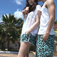 Valentines Turquoise Leopard Print Beach Shorts from SarahHunt