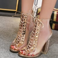 Hot style hot selling fashion transparent strap crystal high heels women