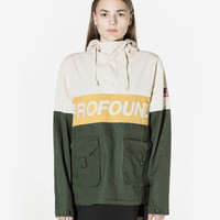 3-Tone Pullover Parka Jacket in Cream/Forest/Gold: WMNS
