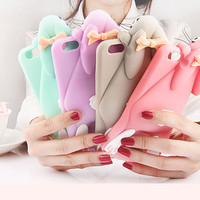 """3D Cartoon Bunny Silicone Back Cover Case For iPhone 6 plus /6s plus 5.5"""" Rabbit Soft Silicon Gel Phone cases with Brand Logo"""