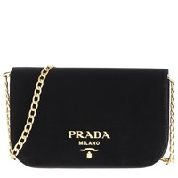 Prada Women's Small Velvet Flap Crossbody Bag Black