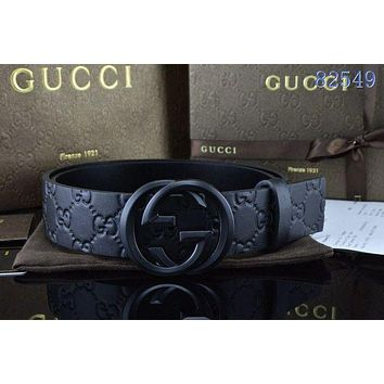 GG Tide brand double G embossed men retro business wind smooth buckle belt