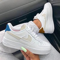 NIKE Air Force1 Broken hook Contrast  AF1 low-top sneakers coffee blue