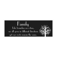 Family Quote Canvas Art Tree Black and White