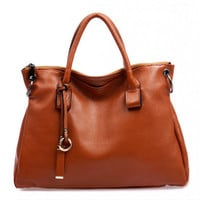 Fashionista Charms Brown Large Leather Tote Totebag. Camel Weekend Bag. Genuine Leather Purse