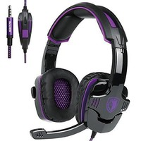2017 New Updated Gaming Headphones,SADES SA930 3.5mm Stereo Sound Wired Professional Computer Gaming Headset with Microphone,Noise Isolating Volume Control for Pc/Mac/Ps4/Phone/Table(Black Purple)