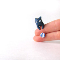 Blue Sailor Сat and white blue stud earring - summer collection - polymer clay jewelry - hand painted stud earrings - fake plug